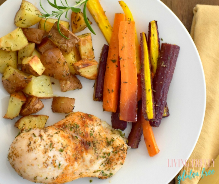 Skillet Chicken With Roasted Potatoes Carrots Recipe: Paleo Herb Roasted Chicken, Potatoes, And Carrots. One Pan