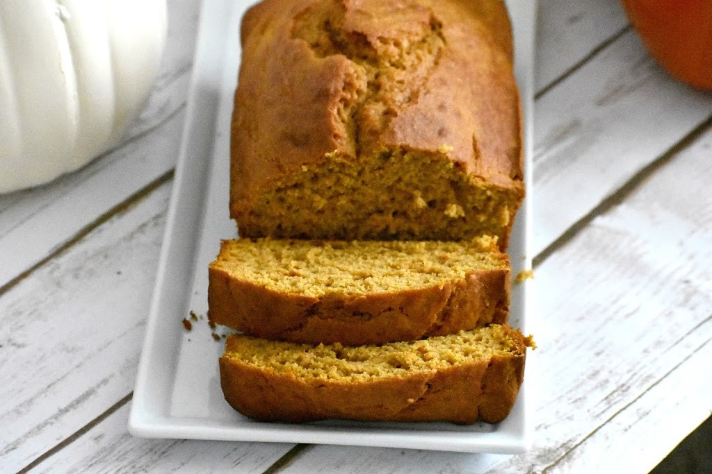 pumpkin bread on a plate sliced
