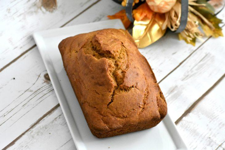 Loaf of pumpkin bread on a plate