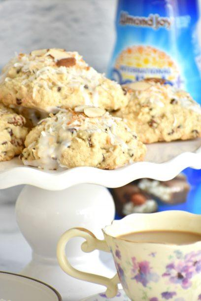 Plate of scones with coffee