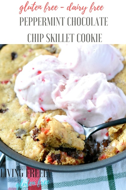 Gluten Free Peppermint Skillet Cookie with Vegan Candy Cane Ice Cream