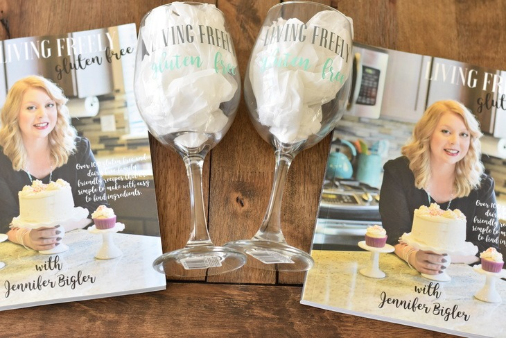 Wine glasses and cookbooks