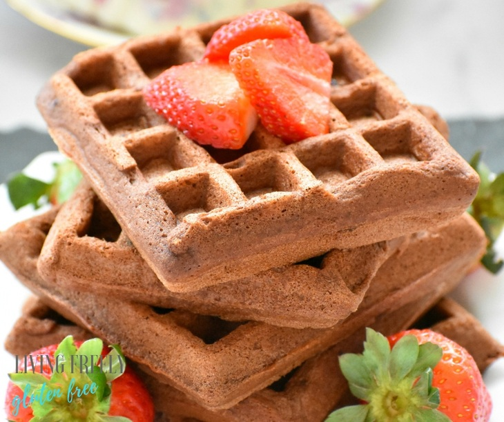 chocolate waffles with strawberries