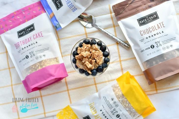 Safe and Fair granola with a yogurt parfait