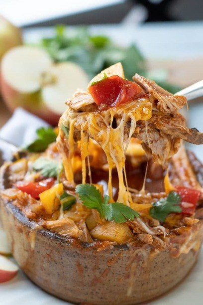 Cheesy pork Chili in a bowl