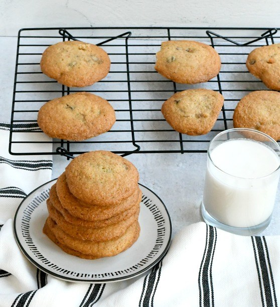 gluten free chocolate chip cookies on a plate with milk