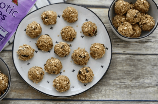 no bake oatmeal cookie balls on a plate