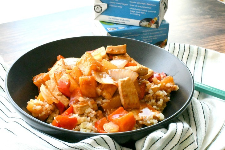 vegan sweet and sour tofu in a bowl on a table