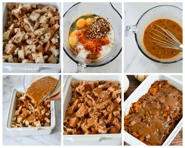 Process shots for pumpkin bread pudding